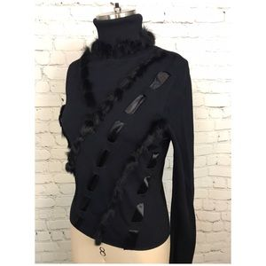 Black Vintage fur Ribbon ribbed fitted sweater top